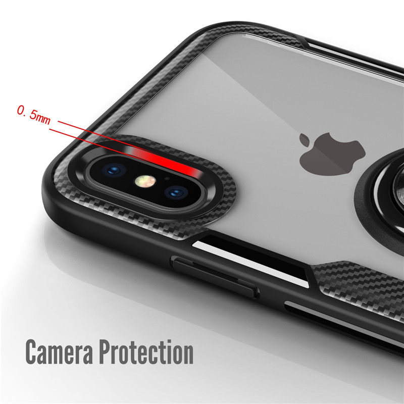 Car Holder Magnetic Case For Iphone X Cover case Finger Ring Holder Cases Case For Iphone Cases X Transparent Carbon Fiber Cover in Fitted Cases from Cellphones Telecommunications