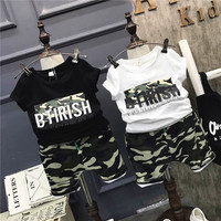 Baby boys fashion clothing set kids Camouflage black white t shirt and army green short 2pcs children casual clothes 2-7 Years