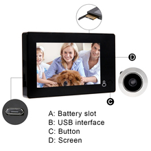 4.3″ LCD Display Video Door Phone 100 Million Security Cameras 145 Degree Smart Home Wireless Doorbell Peephole Viewer Door Bell