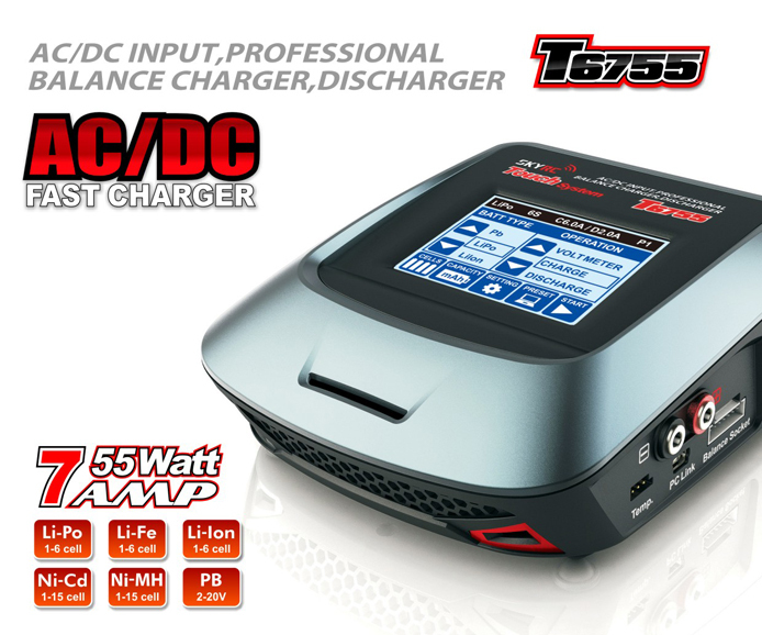 SKYRC T6755 AC DC fast Charge Balance Charger with 3.2inch (320*240 dot) touch sensitive color LCD screen skyrc d100 2 100w ac dc dual balance charger 10a charge 5a discharge nimh lipo battery charger twin channel charge