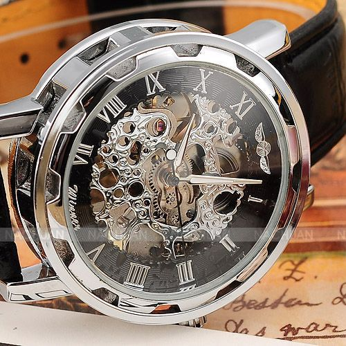 2015 New Hot Sale Skeleton Hollow Fashion Mechanical Hand Wind Men Luxury Male Business Leather Strap
