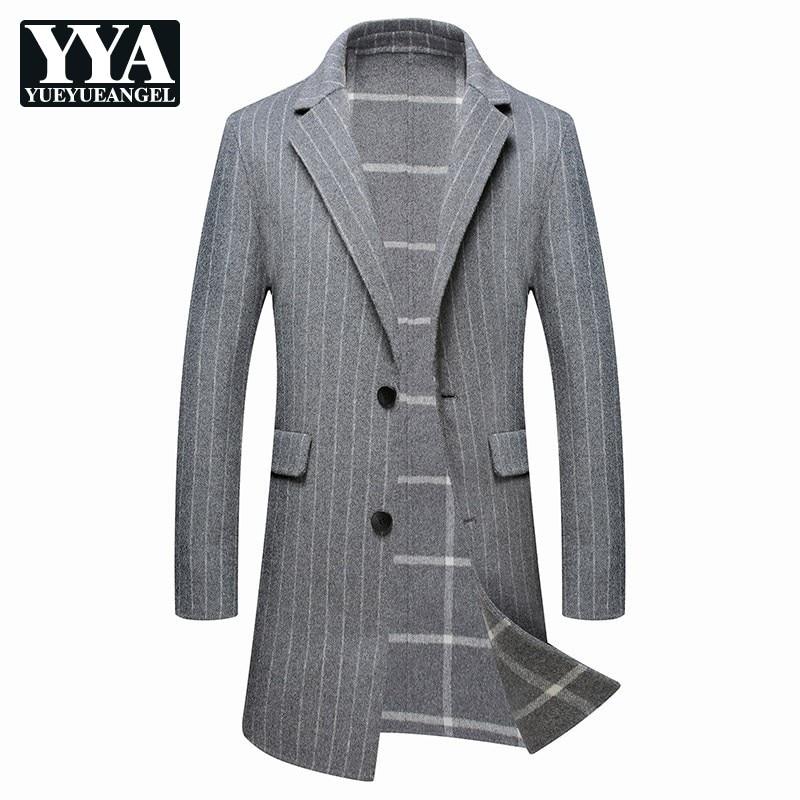 Offre spéciale 2019 pardessus hommes formel Business manteau hiver Double face longue laine veste hommes mode gris rayé laine manteau hommes