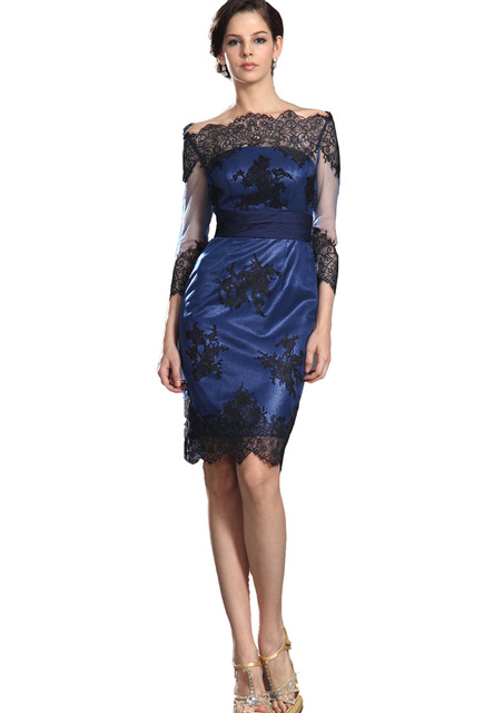 Above knee mini short lace plus size dress for bride groom mother ...