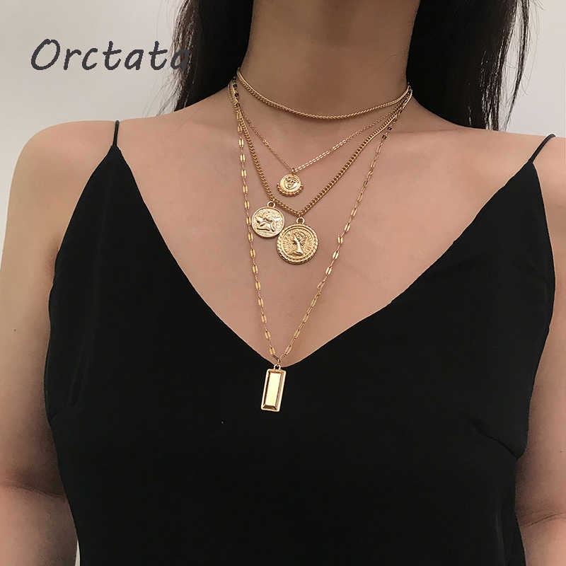 Multilayer Long Pendants Necklace for Women Vintage Girls Carved Coin Gold Chain Statement Necklaces Fashion Jewelry for Female