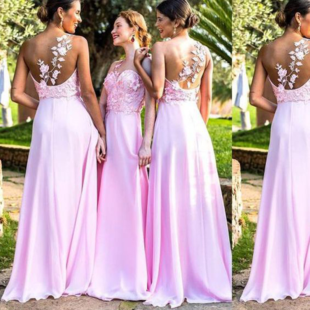 2019 Pink   Bridesmaid     Dresses   Lace A Line Sheer Bodice Chiffon Floor Length robe demoiselle d'honneur Wedding Party   Dress