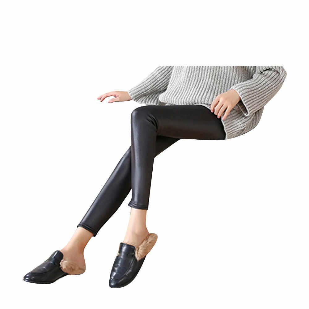Женские кожаные джинсы с высокой талией обтягивающие узкие брюки повседневные однотонные черные длинные уличная одежда большого размера женские летние Лидер продаж