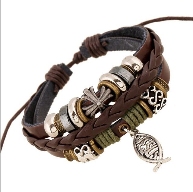 Handmade Leather Bracelets Bangles Mens Women Jewelry Cross Charm Fishing Low Price Christs