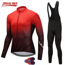 2019 Team FUALRNY Long sleeve Ropa Ciclismo Cycling Jersey set 9D gel Autumn Mountian Bicycle Clothing Red and black collocation