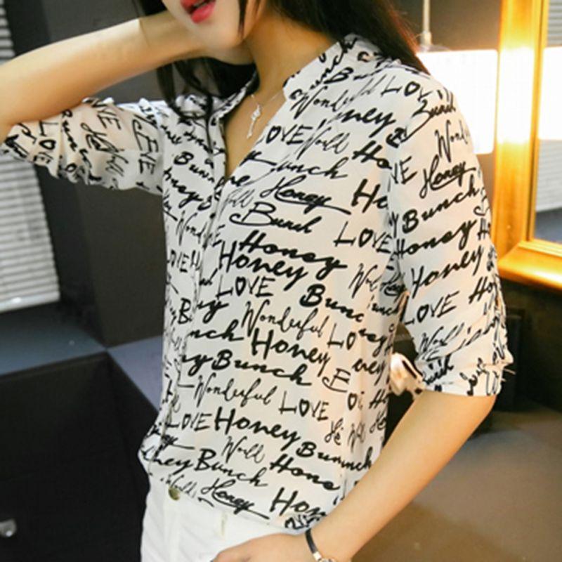 2017 Nuevas Mujeres de La Gasa Carta Cebra de Impresión Blusa Camisa Niña de Tre