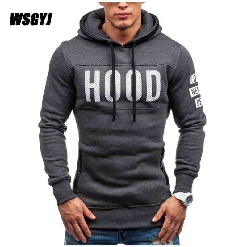 Moleton Masculino 2017 Schlank Hoodies Männer Sweatshirt Langarm Pullover Kapuze Sport Männer Buchstaben Gedruckt Trainingsanzug S-XXL