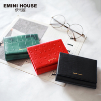 EMINI HOUSE Genuine Leather Trifold Women Wallet Card Holder Organizer Ladies Purse Hasp Short Wallet Mini Wallet