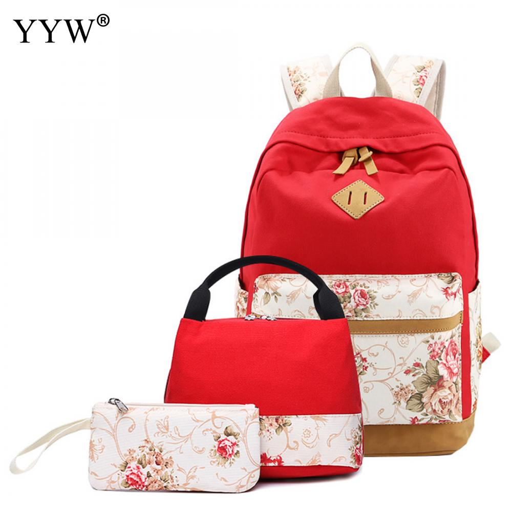3 Pcs/set Female Red Backpack Set Canvas Bags For Women Casual Top-handle Bag & Clutches School Backpack For Children