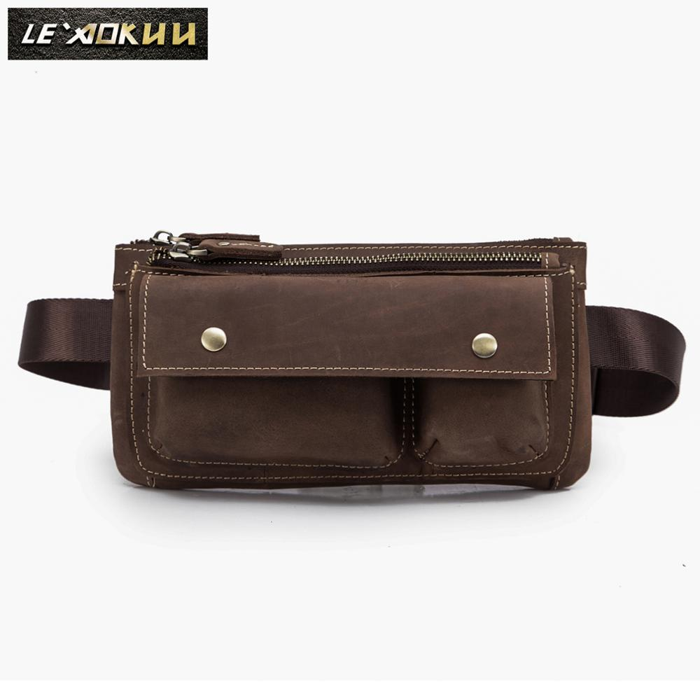 Fashion Original Leather Unisex Crossbody Sling Bag Design Casual Travel Cigarette Case Pouch Fanny Waist Belt Bag Pack 811-28