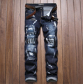 High Quality Brand Style Mens Jeans,Dark Color 100% Cotton Ripped Jeans For Men Fashion Designer Brand Jeans