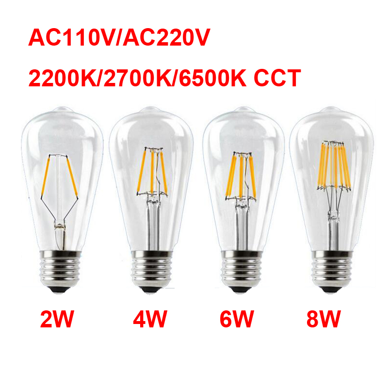 E27 AC110V 220V Vintage ST64 LED Bulb Dimmable 2W 4W 6W 8W Filament Edison LED 2300K 2700K 6000K Yellow Warm Cool White Color e27 led 8w white warm white cob led filament retro edison led bulbs 85 265v