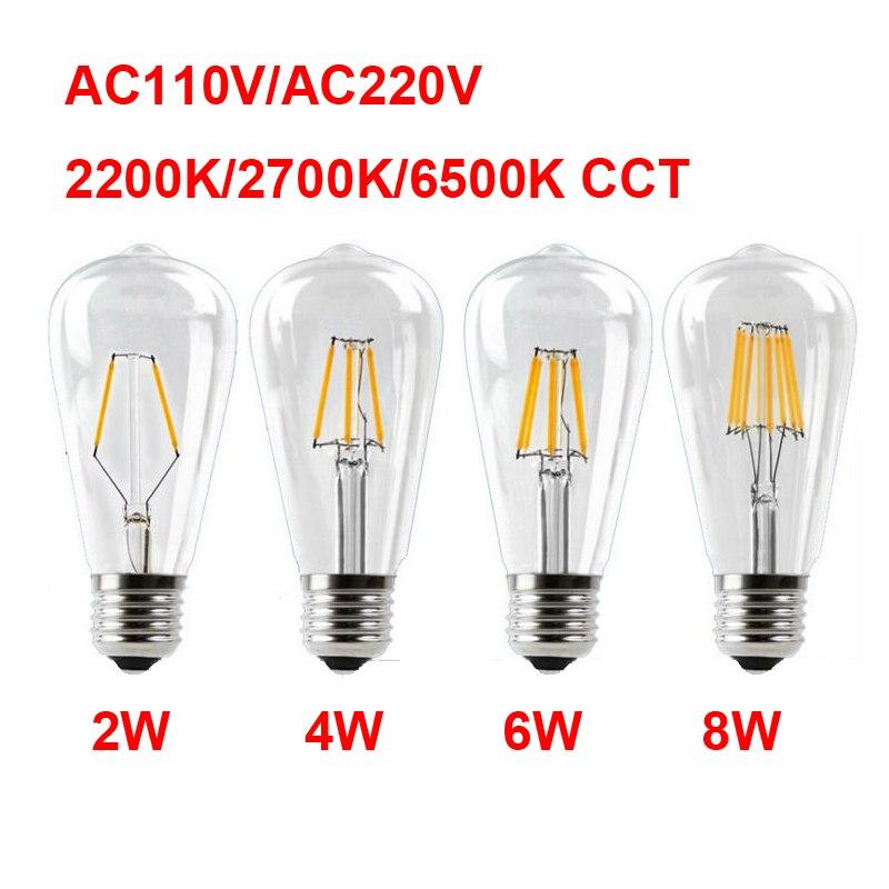 E27 AC110V 220V Vintage ST64 LED ampoule Dimmable 2W 4W 6W 8W Filament Edison LED 2300K 2700K 6000K jaune couleur blanc froid chaud