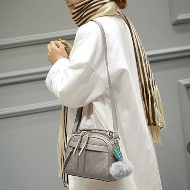 Women Square PU Leather Handbags Chain Messenger Bags With Ball Female Shoulder Crossbody Bag Sling Bolsa Ladies Party Handbags 2