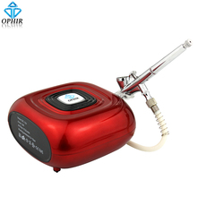 OPHIR Professional Makeup Airbrush Kit with Red Mini Air Compressor 0.2mm Sprayer for Cosmetic_AC123R+AC073