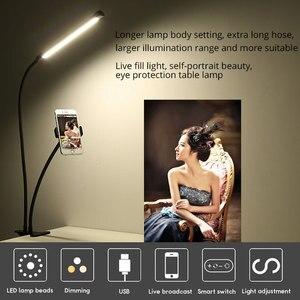 Image 5 - Desktop Mounts Mobile Phone Holder Stands With LED Selfie Light Flash Lamp Photo Studio Light Phone Holder for Video Makeup Live