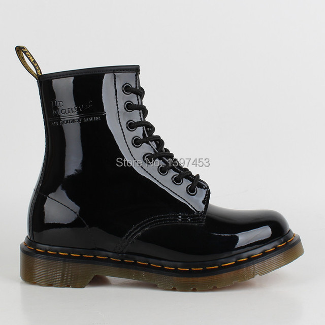 High Quality Dr 1460 8 Eye Martin Boots Black SMOOTH Men Women s Patent Leather  Martin Shoes Ankle Winter Boots Shoes 23e622e0e90f