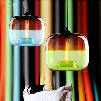 1PC Nordic glass pumpkin pendant lamps personalized restaurant bar coffee shop creative blue green plating pendant lights ZA