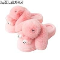 Женская обувь слиперы Для женщин хлопок Шлёпанцы для женщин в зимний дом прекрасный кролик indoor Шлёпанцы для женщин беременных женские шлеп...