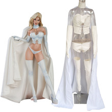 Marvel X-men White Queen Emma Frost Cosplay Costume White Corset Cloak with Wings Sexy Adult Women Superhero Costumes Custom