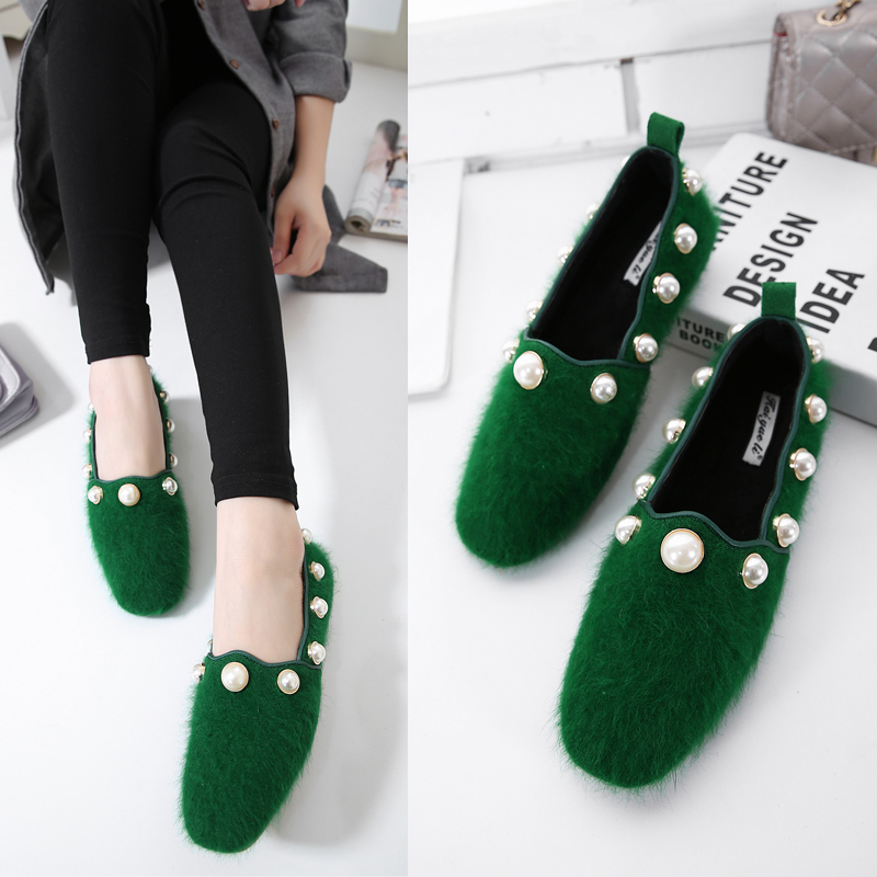 2017 Leather Flats Young Lady Fashion Flat Heel Square Toe Flat Heel Shoes British Style Women Slippers Loafers green with fur 2016 autumn fashion women full grain leather flat heel white shoes student bling round toe leather brand basic flats loafers