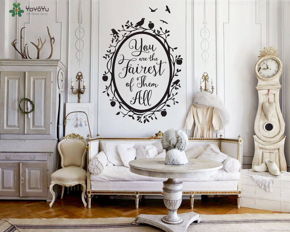 YOYOYU Wall Decal Quote Fairest Of Them All Vinyl Wall Stickers Woodland Mirror Kids Rooms Girl Bedroom Art Mural RemovableSY573