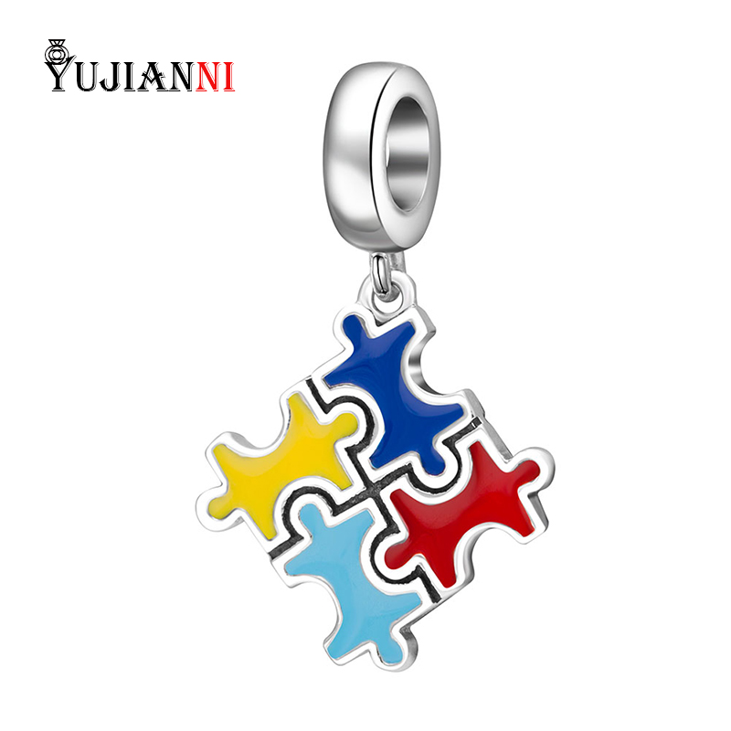 925 Sterling Silver Charm Colorful Puzzle Pendant With Clear CZ Stones Bead Fit European Brand Bracelets& Necklace Jewelry