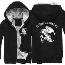 Game MGS 5 Metal Gear Solid V Fox Hound Logo Zip Up Super Warm Print Fleece Hoodies Coats Sweatshirts