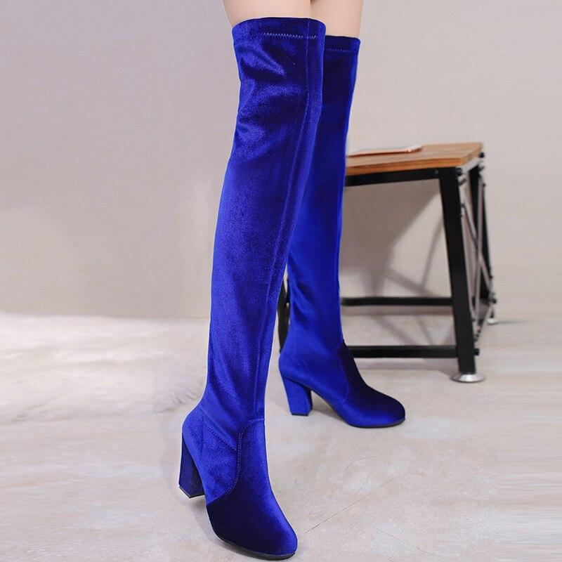 Замшевые женские ботинки с высоким голенищем на очень высоком квадратном каблуке с молнией сзади, цвет: синий, винный, красный, вечерние 40