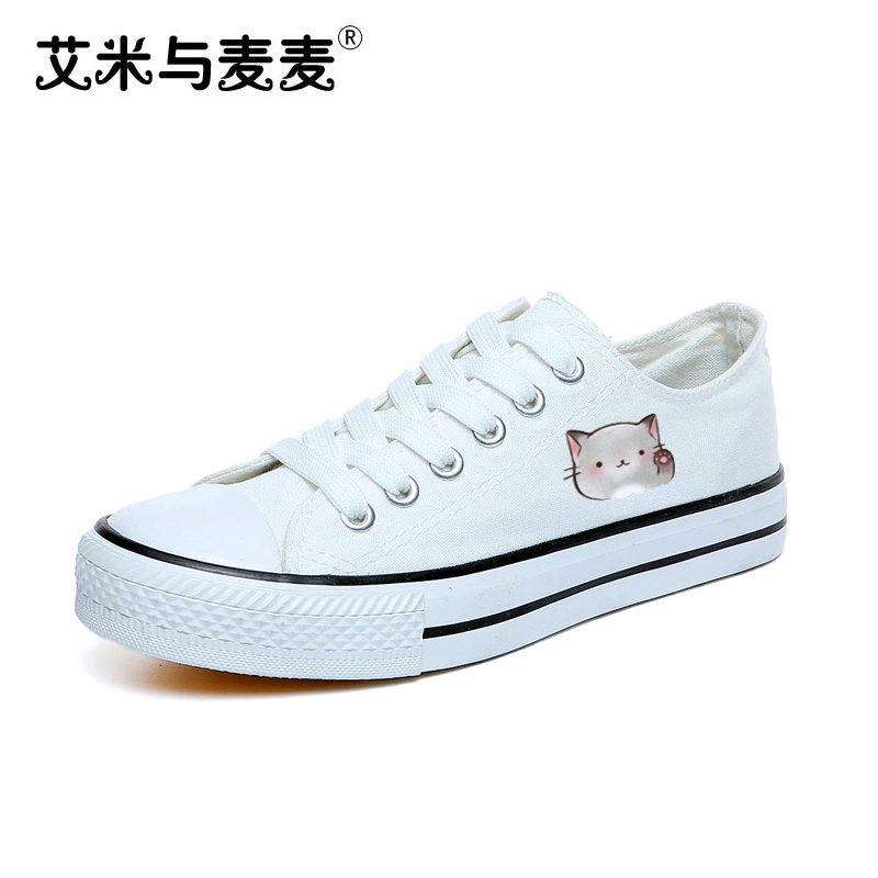 High Quality Cute Cat Print Women's Canvas Shoes 2018 Lace up Women  White Casual Skate Shoes Zapatos Mujer vik max white genuine leather hot sale figure skate shoes lace up ice figure skate shoes