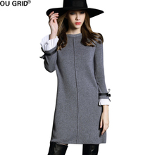 Autumn Women Dress 2016 High quality Butterfly sleeve Knitted Sweater Black&Gray Casual A-line Dress