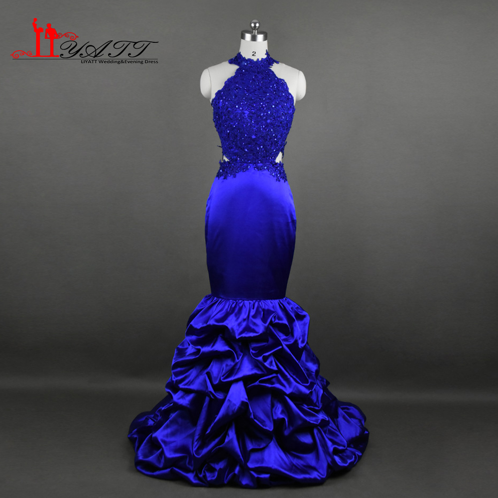 2017 Real Photo Evening Prom Dresses Royal Blue Sexy -5821