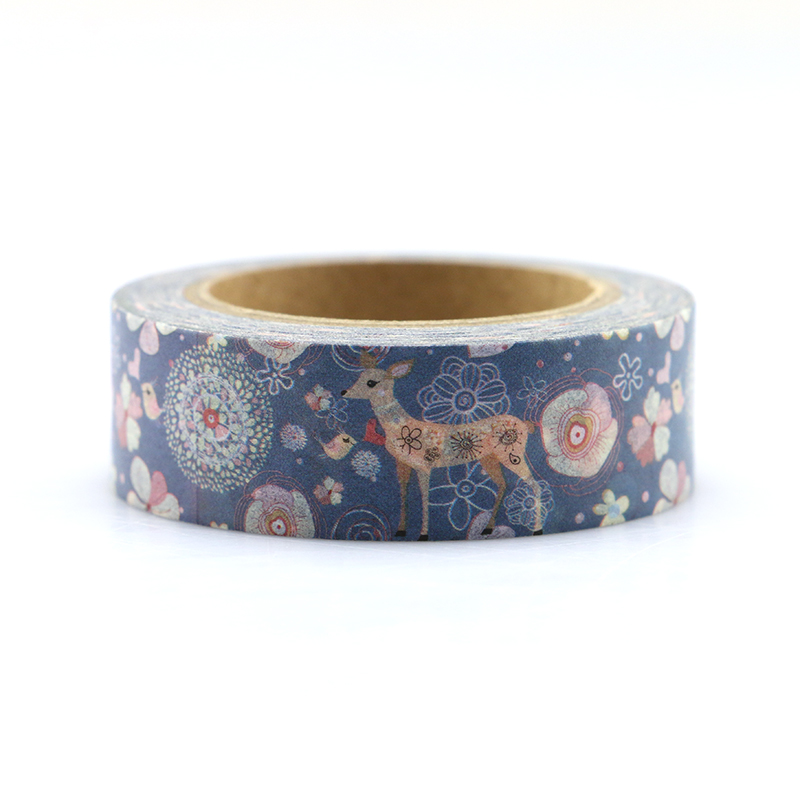 15mm*10m Kawaii Christmas elk Quality Washi Tape Adhesive paper Tape DIY Scrapbooking Sticker Label Craft Masking Tape gold foil washi tape adhesive scrapbooking christmas party elk decoration tape kawaii photo album maskingtape
