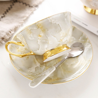 High grade gold bone china coffee cup set English Red Tea Cup Continental Ceramic Coffee Cup Saucer Afternoon Tea Cup