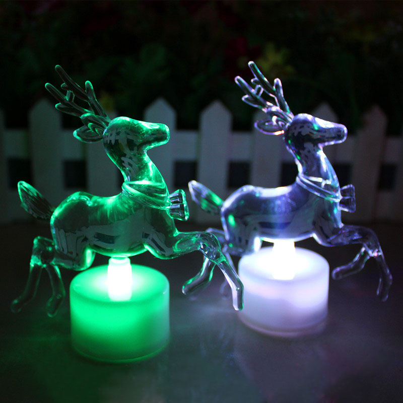 christmas reindeer led lamp colorful acrylic double flash colorful night light led light speed fp8 in pendant drop ornaments from home garden on