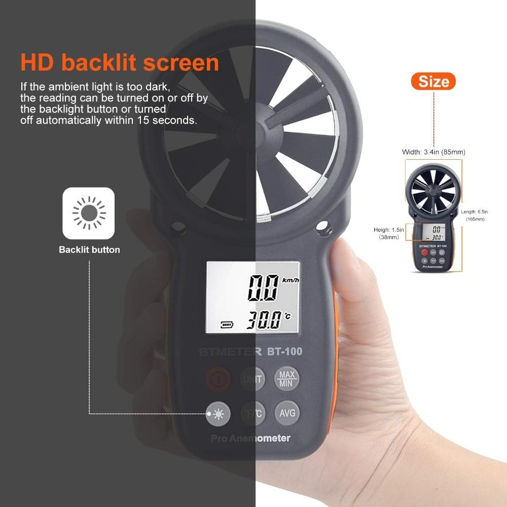 Anémomètre numérique De Compteur de Vitesse De Vent BT-100 pour Mesurer La Vitesse Du Vent, Température et Refroidissement Éolien avec Rétro-Éclairage LCD 4