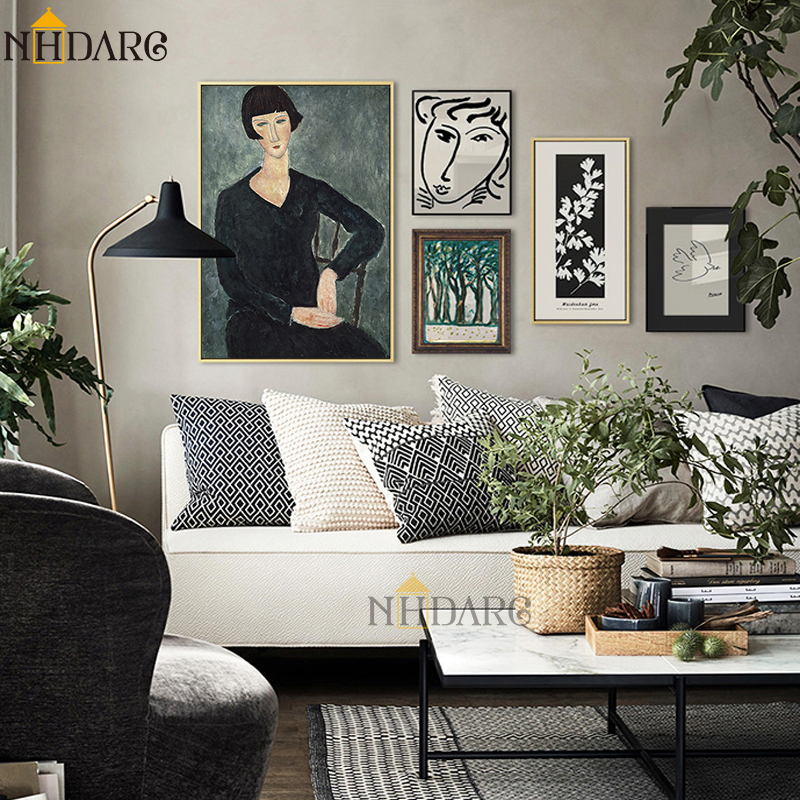 HTB1LICqS3HqK1RjSZFPq6AwapXaQ Classic Amedeo Modigliani Picasso Artwork Collection Sketch Canvas Print Painting Poster Wall Pictures Living Room Home Decor