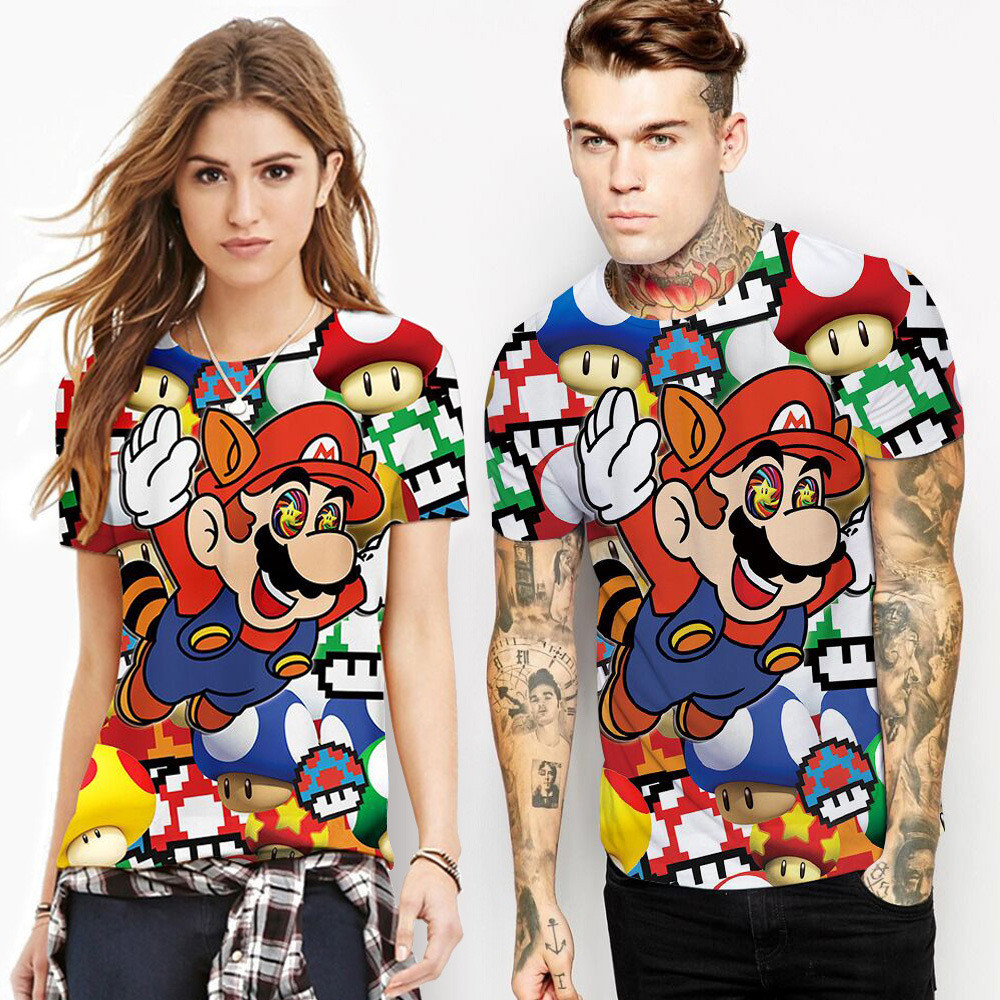 Cosplay Super Mario T-shirt Summer Top 3D Color Printed Top Couple T-Shirt personality Halloween costumes men/women adult image