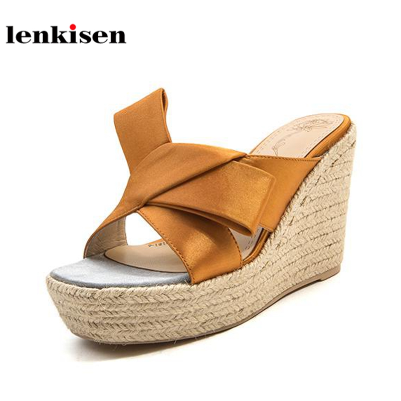 Lenkisen silk slip on special slingback simple fashion platform women sandals peep toe super high heels wedges summer mules L02 elegant slip on wedges shoes women casual chunky heel summer red blue peep toe suede 2018 high heels mules platform sandals