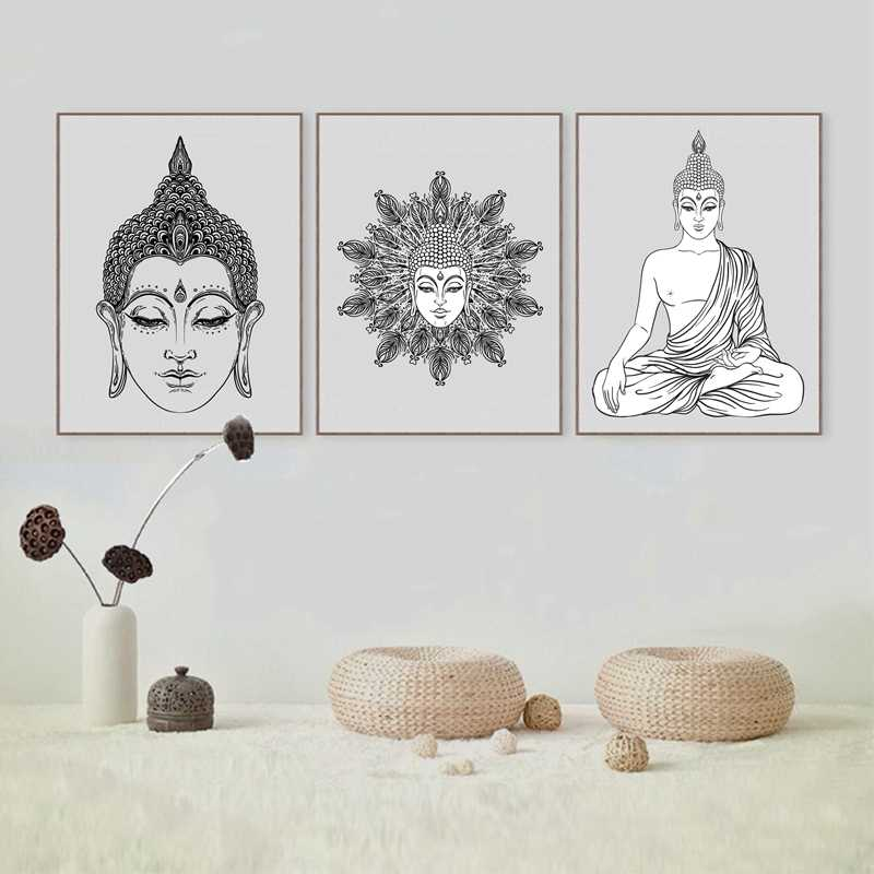 Sitting Buddha Art Print And Poster Wall Pictures ,  Hand Drawn Buddha Face Canvas Poster Prints Buddhism Home Decoration
