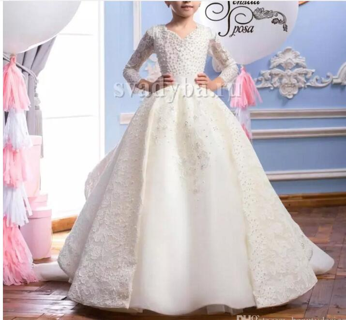 2018 Customized Formal Flower Girl Dress for Wedding Pearls Lace Princess Birthday Party Gown Long Sleeves Bow High Quality2018 Customized Formal Flower Girl Dress for Wedding Pearls Lace Princess Birthday Party Gown Long Sleeves Bow High Quality