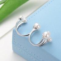 GNpearl белый пресноводный жемчуг кольцо 925 пробы Серебряное женское кольцо Мода Дизайн натуральный ювелирные изделия подарок регулируемый