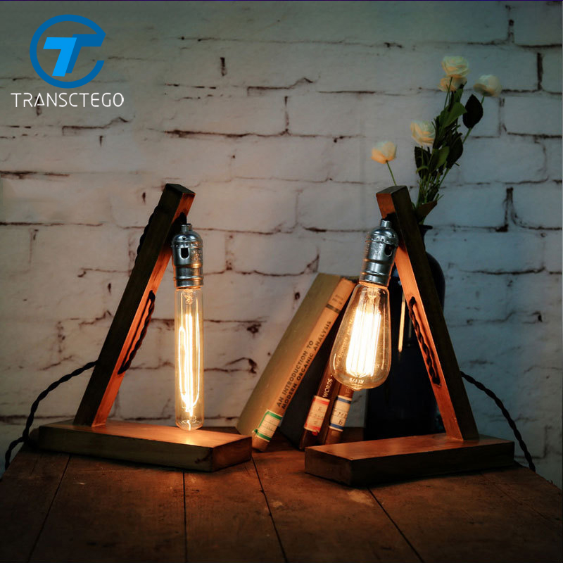 table lamp Edison bulb wood desk light American country vintage hall Coffee Nordic lamp Industrial bedside Creative decoration loft retro coffee shop table lamp wood vintage desk lamp dimmable 40w edison bulb 220v bedroom bar table light desk light wooden