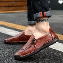 Brand Fashion Shoes Genuine Leather Men Casual Shoes Soft Flats Loafers British Style Plus Size Loafer Breathable Casual Shoes new fashion casual men shoes flats loafer sneaker style comfortable classic slip leather snakeskin pattern simple style