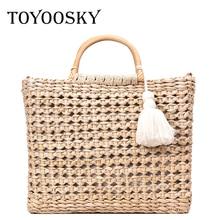 TOYOOSKY Original Hollow Fringed Woven Straw Bag Wooden Handle Natural Color Travel Tote Woman Fashion Messenger Handbag