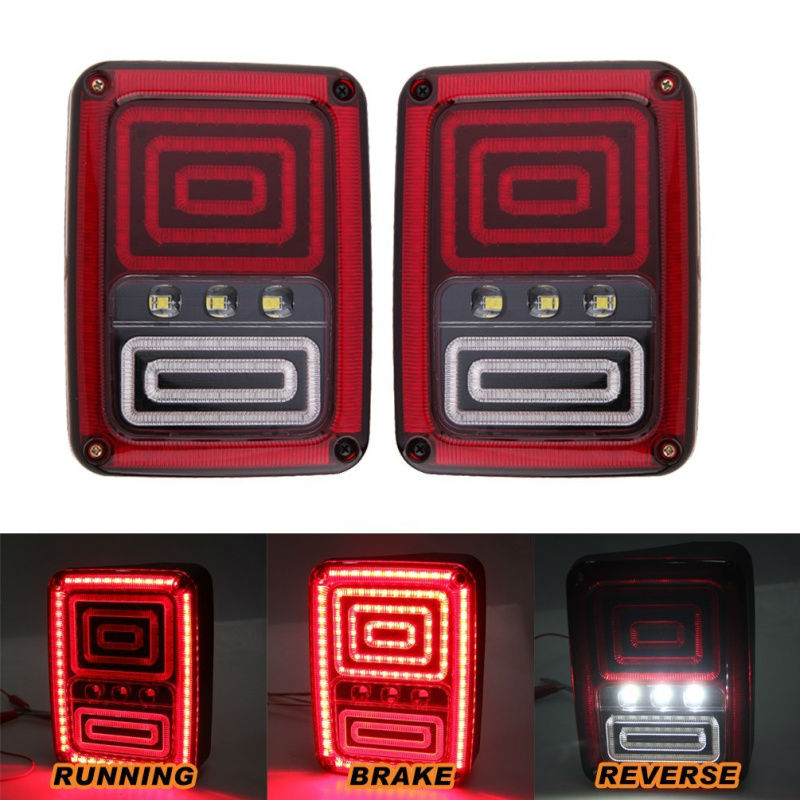 LED Tail Light for Wrangler JK Brake Reverse Turn Singal Lamp Back Up Rear Parking Stop Light Daytime Running Bulb DRL 1pair led side maker lights for jeeep wrangler amber front fender flares parking turn lamp bulb indicator lens