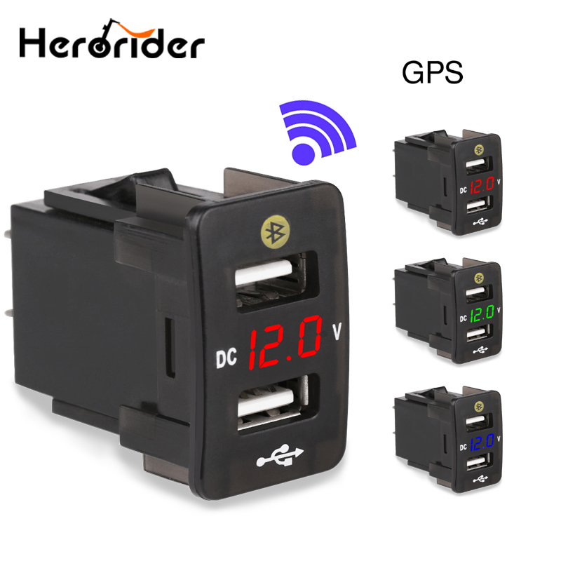 4.2A Dual USB Car Charger For Honda With Parking Location Mobile Phone Volt Meter Car Charger Socket GPS Tracker Locator